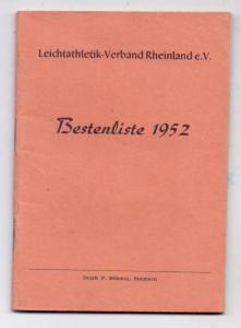 SPORT - LEICHTATHLETIK, Bestenliste 1952, LV Rheinland e.V., 71 Seiten