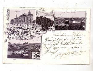 5100 AACHEN - CORNELIMÜNSTER, Lithographie, Abteikirche, Lehrer-Seminar, Klauserwäldchen, West Ansicht