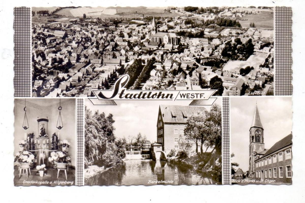 4424 STADTLOHN, Innenstadt Luftaufnahme, Berkelmühle, Markt & St. Otger, Gnadenkapelle, 1961 0