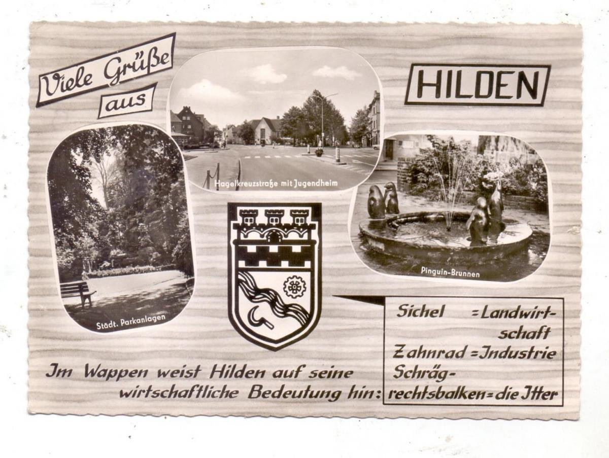 4010 HILDEN, Pinguin-Brunnen, Hagelkreuzstrasse, Parkanlagen, Stadtwappen, 1966 0
