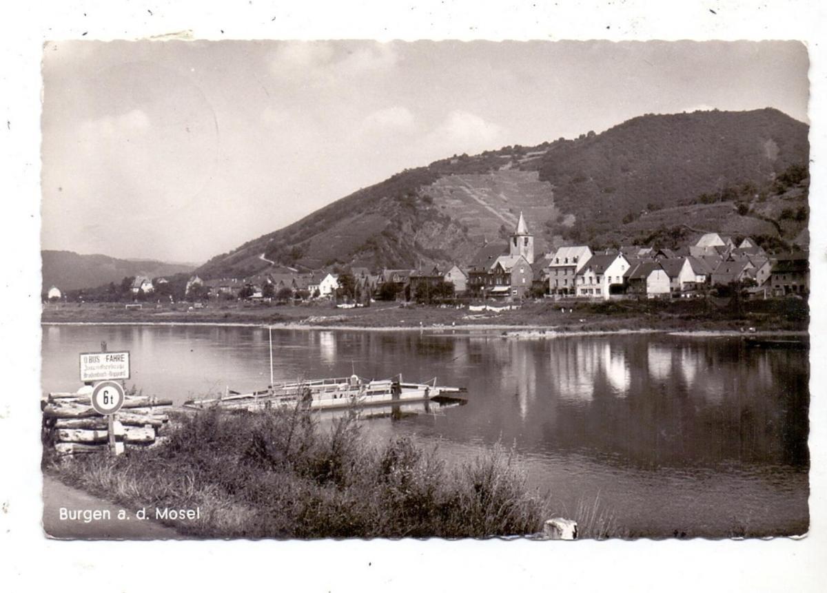 5401 BURGEN, Ortsansicht 1960, Moselfähre Moselkern, O-Bus Fähre 0