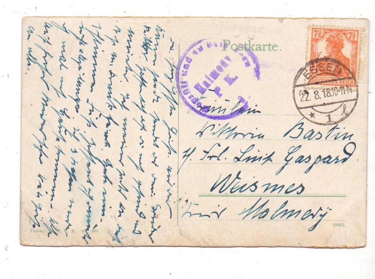 4300 ESSEN, Synagoge, 1918, nach Weismes verschickt, Malmedy Zensur 1
