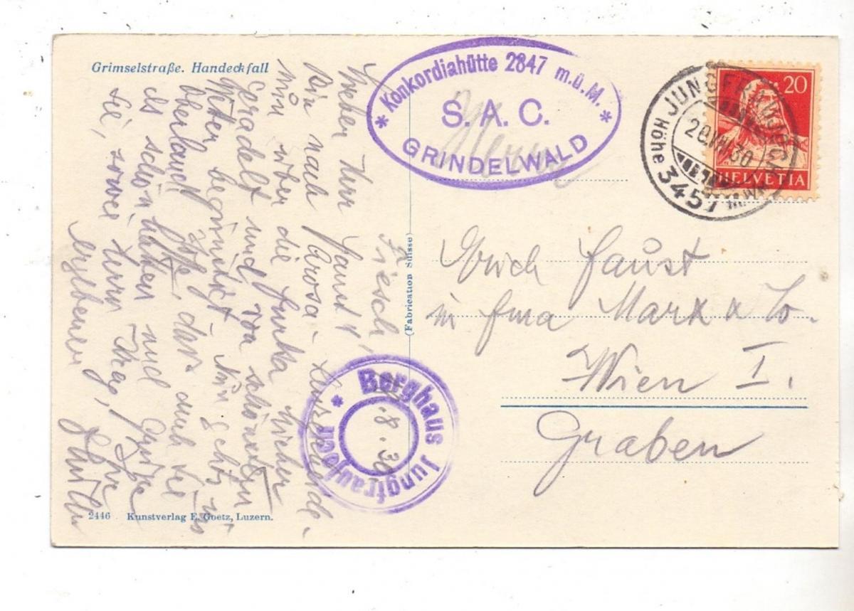 CH 3864 GUTTANNEN,Grimselstrasse, Handeckfall, Omnibus, 1930 1
