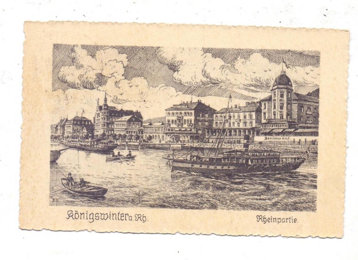 5330 KÖNIGSWINTER, Rheinpartie mit den Uferhotels, Künstler-Karte, 1922 0
