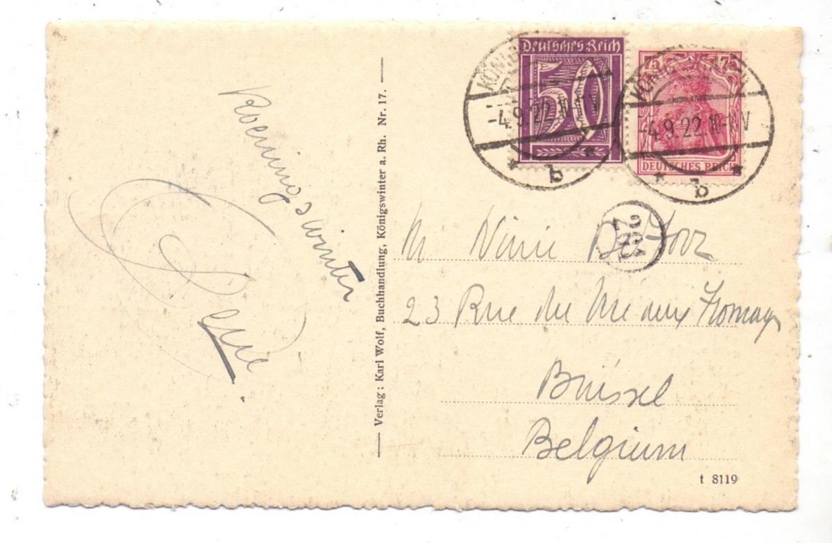 5330 KÖNIGSWINTER, Rheinpartie mit den Uferhotels, Künstler-Karte, 1922 1