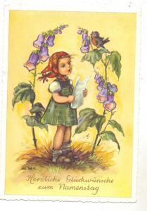 KINDER - Mädchen mit Blumen und Vogel