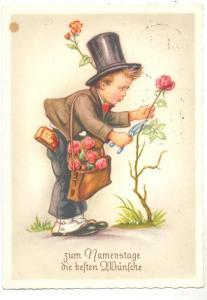 KINDER - Junge mit Zylinder und Rosen