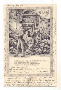 BERGBAU / Mining / Mineur, Bergmann vor Ort, Glückauf 1902