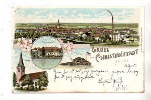 NIEDER - SCHLESIEN - NAUMBURG Bober - CHRISTIANSTADT, Lithographie, Bahnhof, Kirche, Schloss, Gesamtansicht