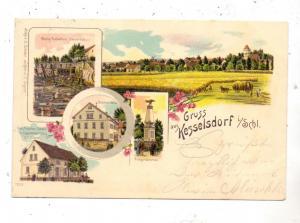 NIEDER - SCHLESIEN - LÖWENBERG-KESSELSDORF, Lithographie 1898, Steinbruck, Böhmschenke, Schober-Glas,Porzellan, Tabak..