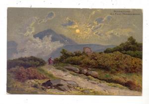 NIEDER - SCHLESIEN - KRUMMHÜBEL / KARPACZ, Prinz Heinrich Baude, Künstler-Karte P.Linke