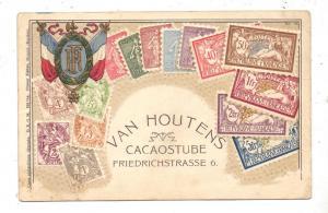1000 BERLIN, Friedrichstrasse 6, Van Houtens Cacaostube, Briefmarken-Präge-Karte, Druckstelle, leicht fleckig