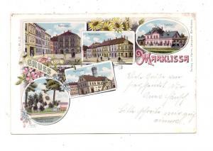 NIEDER - SCHLESIEN - MARKLISSA / LESNA, Lithographie,Bahnhof, Marktplatz, Krieger-Denkmal, Rathaus