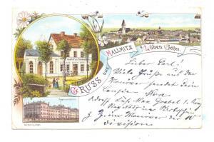 NIEDER - SCHLESIEN - MALLMITZ / MALOMICE, Lithographie, Gasthof zur Friedenseiche, Dragoner-Kaserne...