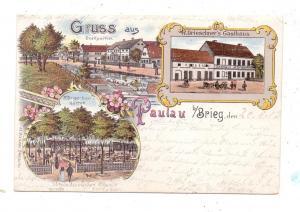 OBER - SCHLESIEN - PAULAU / PAWLOW bei Brieg, Lithographie, Drieschners's Gasthaus, Dorfpartie