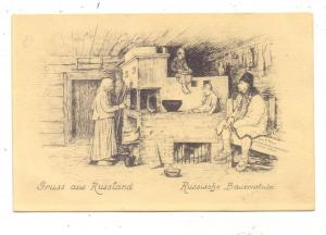 RUSSLAND - Russische Bauernstube, 1916, deutsche Feldpost