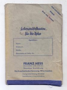 LEBENSMITTELKARTEN - MAPPE, für die Reise, Franz Hess Wiesbaden