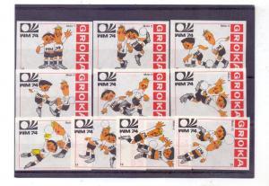 FUSSBAL - WM 1974, 10 Zündholz-Etiketten von GROKA