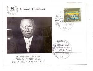 POLITIK - KONRAD ADENAUER, Erinnerungskarte zum 90. Geburtstag 1966