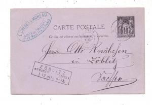 0-9340 MARIENBERG - ZÖBLITZ, Kasten - Ankunftsstempel 1880, Postkarte aus Paris