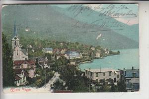 CH 6353 WEGGIS, Ortsansicht 1904, kl. Oberflächenmängel, Schiffspost