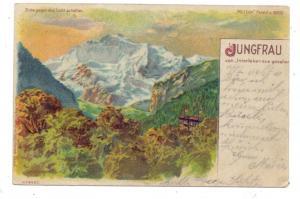 CH 3800 INTERLAKEN BE, Lithographie 1901, Jungfrau von Interlaken gesehen, Halt gegen das Licht / Hold to light, METEOR