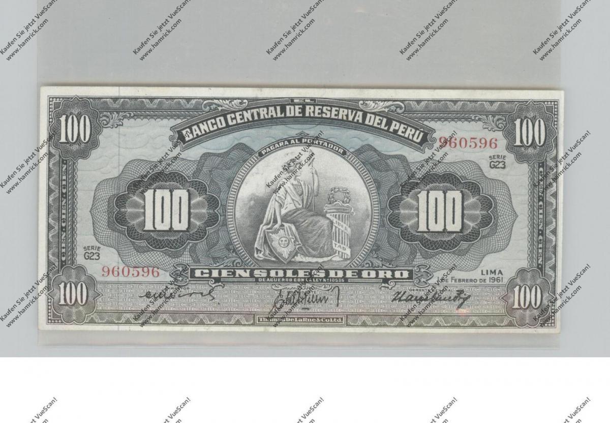 BANKNOTE - PERU, Pick 79c, 1961, 100 Soles de Oro, UNC. 0