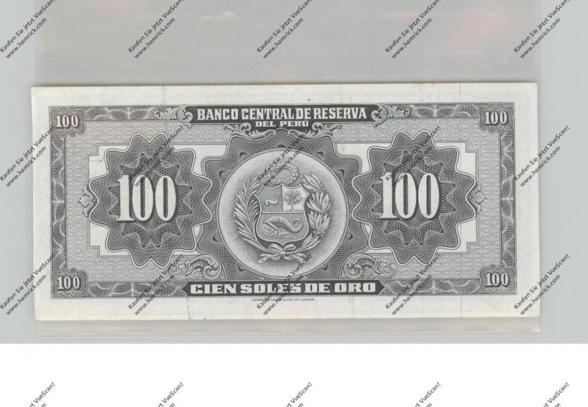 BANKNOTE - PERU, Pick 79c, 1961, 100 Soles de Oro, UNC. 1