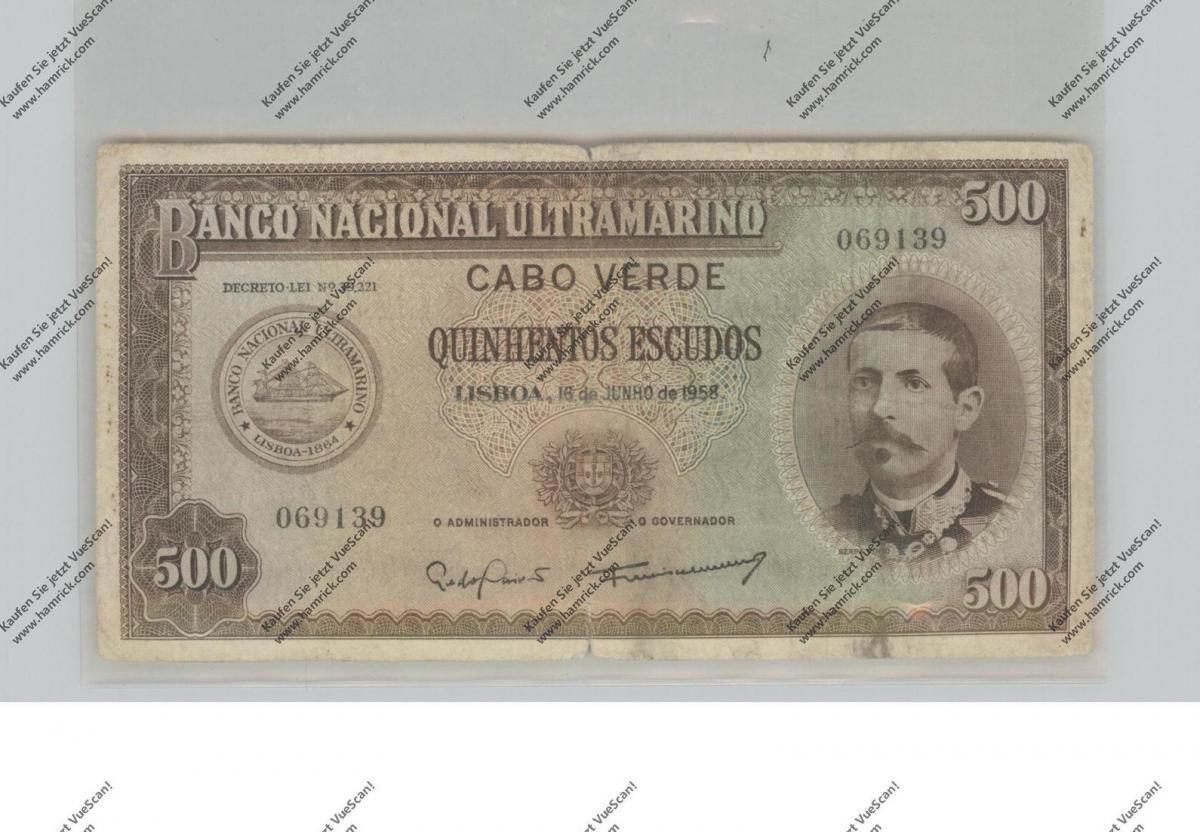 BANKNOTE - CABO VERDE, Pick 50, 500 Escudos, 1958, VF 0