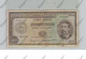 BANKNOTE - CABO VERDE, Pick 50, 500 Escudos, 1958, VF