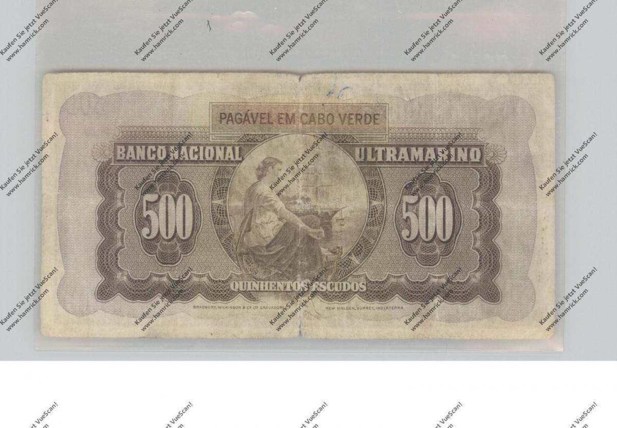 BANKNOTE - CABO VERDE, Pick 50, 500 Escudos, 1958, VF 1