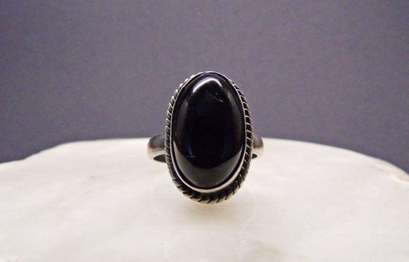 Alter Ring , 925er Silber und Onyx