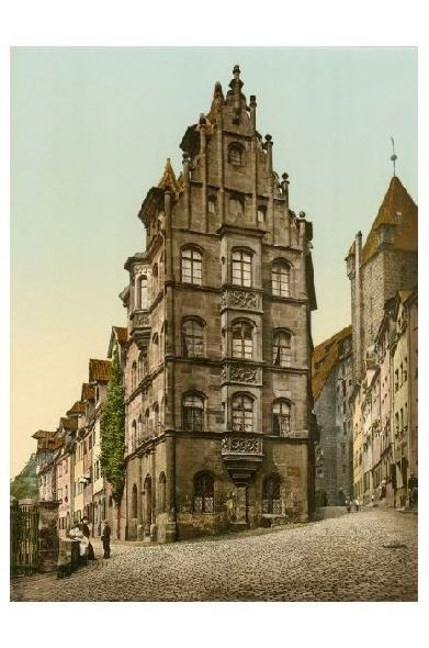 Altes Photochrome-Farbfoto Toplerhaus in Nürnberg (Neudruck als Postkarte)