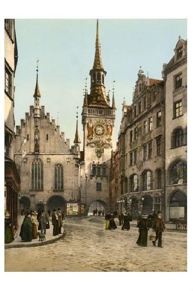 Altes Photochrome-Farbfoto Altes Rathaus in München (Neudruck als Postkarte)