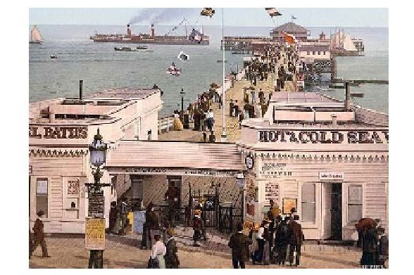 Altes Photochrome-Farbfoto Seebrücke in Clacton on Sea (Neudruck als Postkarte) 0