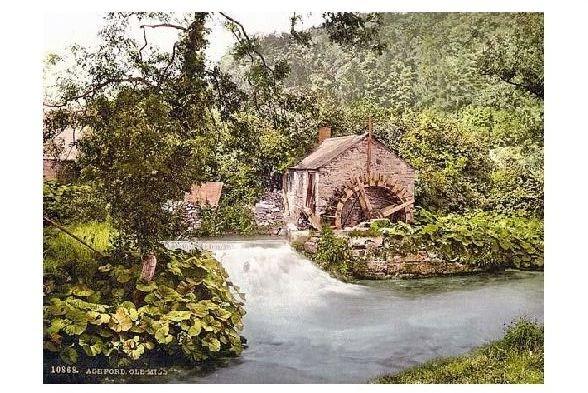 Altes Photochrome-Farbfoto Alte Mühle in Ashford (Neudruck als Postkarte) 0