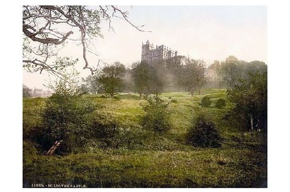 Altes Photochrome-Farbfoto Burg in Bolsover (Neudruck als Postkarte)