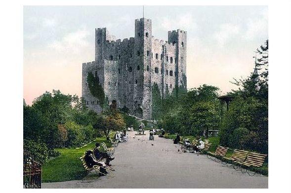 Altes Photochrome-Farbfoto Burgruine in Rochester (Neudruck als Postkarte)