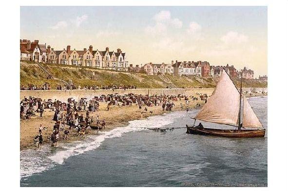 Altes Photochrome-Farbfoto Ablegen eines Bootes in Clacton on Sea (Neudruck als Postkarte)