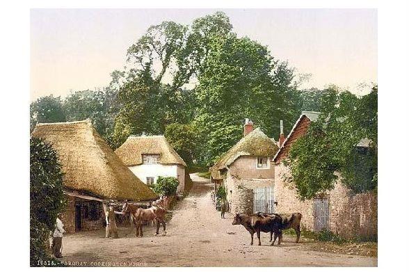 Altes Photochrome-Farbfoto Schmiede in Cockington (Neudruck als Postkarte)
