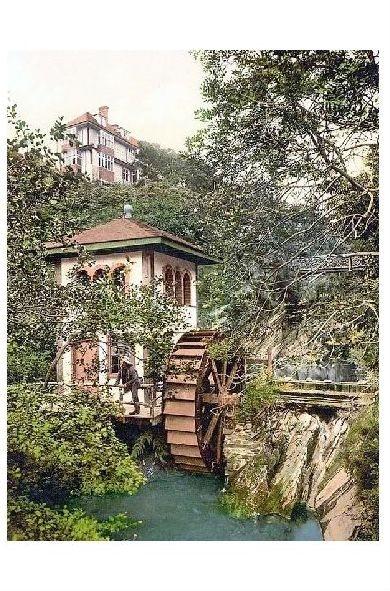 Altes Photochrome-Farbfoto Mühle von Groudle Glen auf der Insel Man (Neudruck als Postkarte)