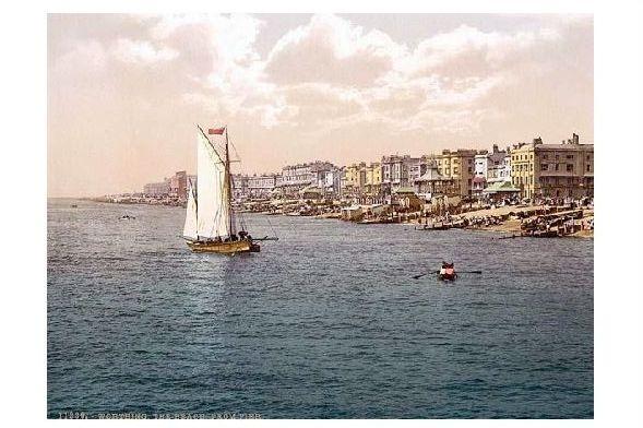 Altes Photochrome-Farbfoto Panorama von Worthing (Neudruck als Postkarte)