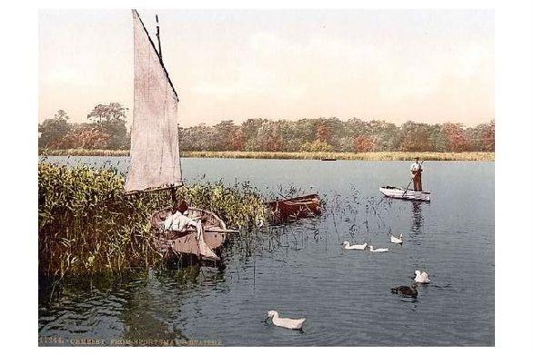 Altes Photochrome-Farbfoto See Ormesby Broad (Neudruck als Postkarte)