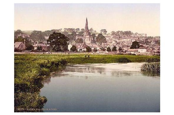 Altes Photochrome-Farbfoto Panorama von Bakewell (Neudruck als Postkarte)