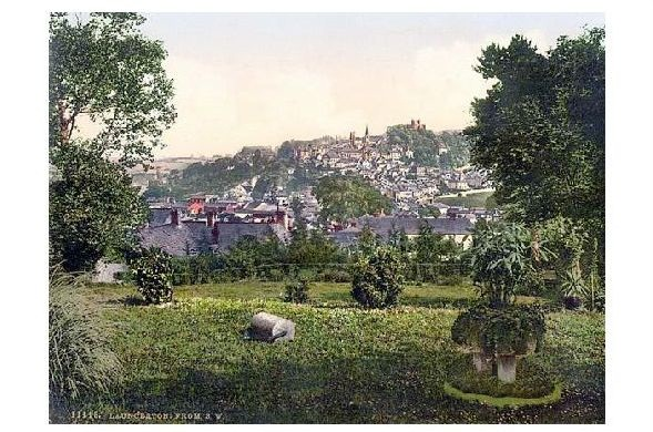 Altes Photochrome-Farbfoto Panorama von Launceston (Neudruck als Postkarte)