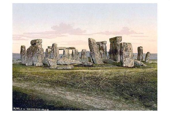 Altes Photochrome-Farbfoto Ansicht von Stonehenge (Neudruck als Postkarte)