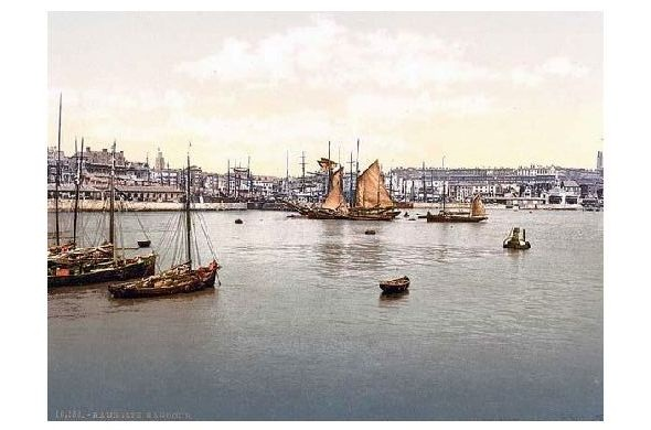 Altes Photochrome-Farbfoto Hafen von Ramsgate (Neudruck als Postkarte)
