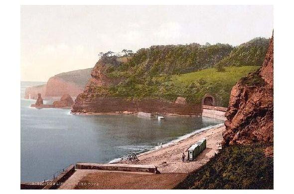 Altes Photochrome-Farbfoto Badebucht in Dawlish (Neudruck als Postkarte)