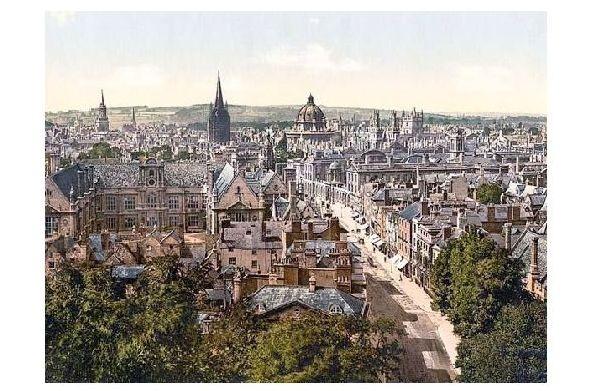 Altes Photochrome-Farbfoto Panorama von Oxford (Neudruck als Postkarte)