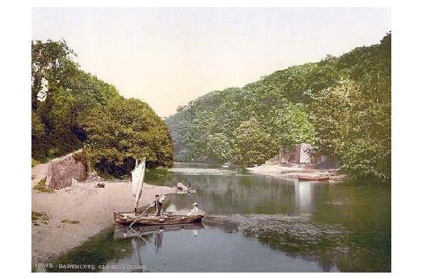 Altes Photochrome-Farbfoto Old Mill Creek bei Dartmouth (Neudruck als Postkarte)
